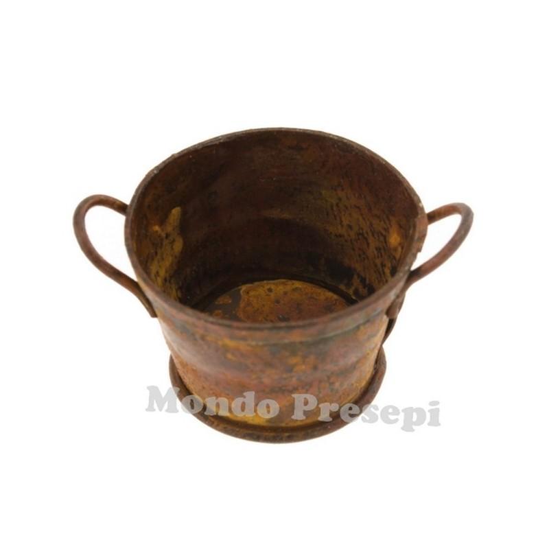 Mondo Presepi Tinozza antichizzata tonda cm 4 in metallo