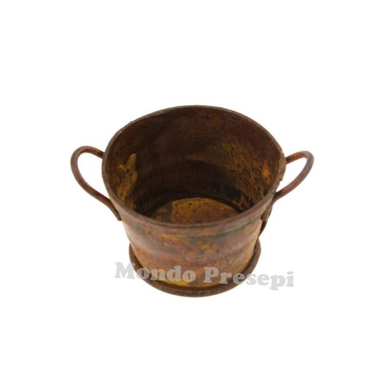 Round antiqued tub 3 cm in metal