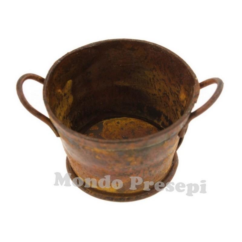 Round antiqued tub 5.5 cm in metal