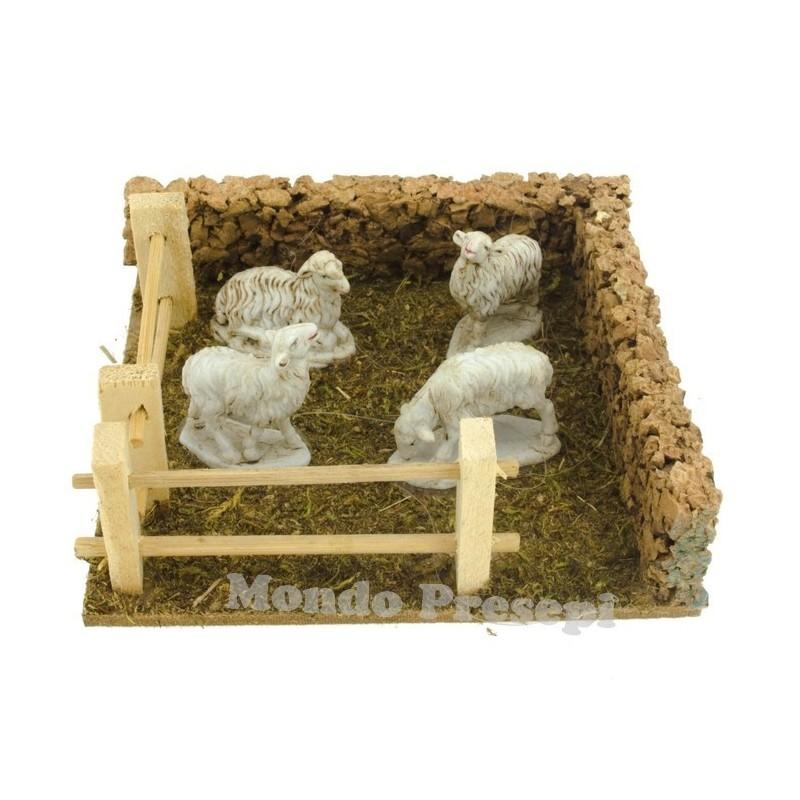 Mondo Presepi Recinto con pecore