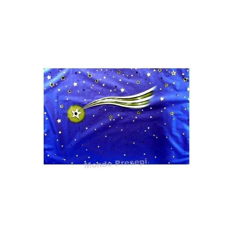Carta cielo metallizzata con stella cometa Cm 100x70 Mondo