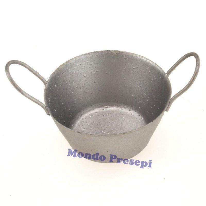 Mondo Presepi Tinozza tonda in metallo cm 4