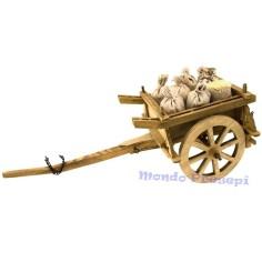 Carro in legno con sacchi cm 40x16x15