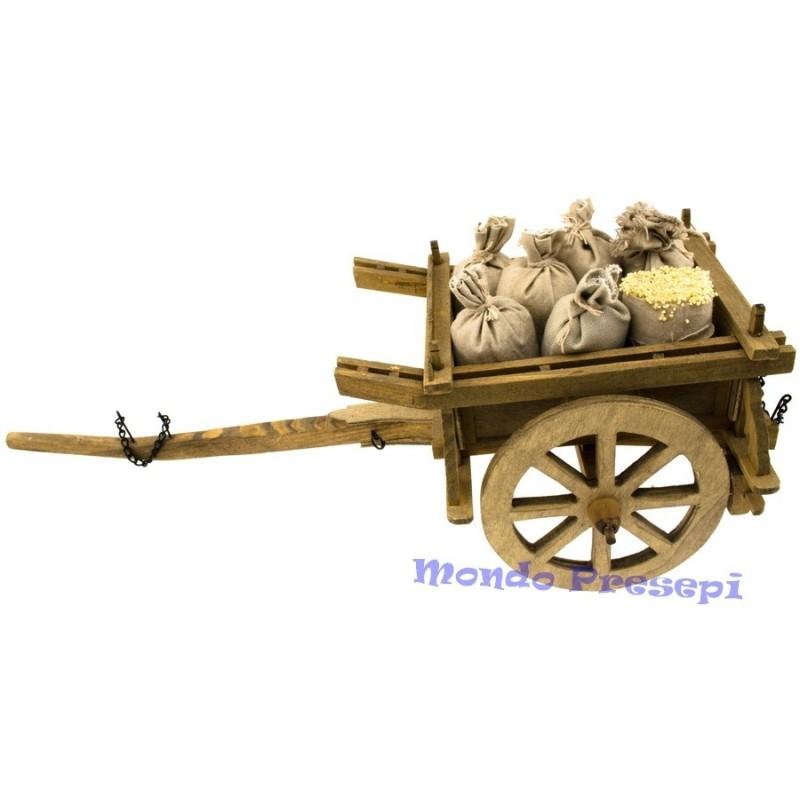 Mondo Presepi Carro in legno con sacchi cm 40x16x15