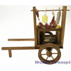 Aged wooden wagon with cold cuts