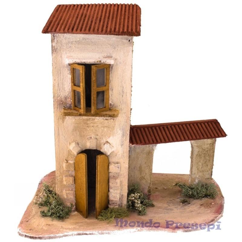 Mondo Presepi Casa artigianale in legno con arco cm 30x19x30h.