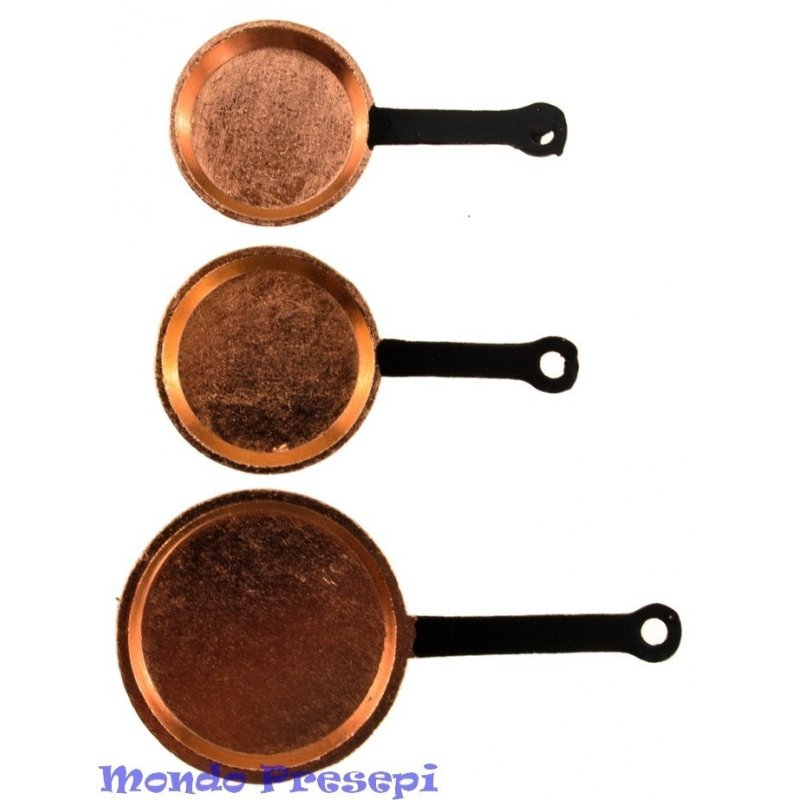 Set of 3 copper pans
