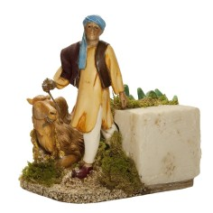 Arab with moving camel 12 cm