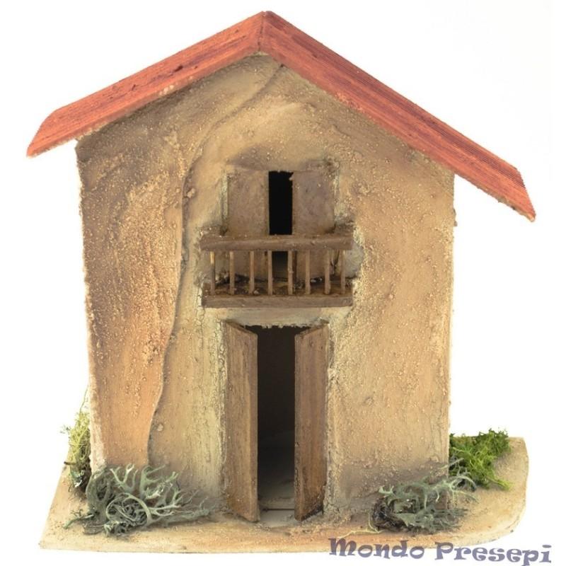 Mondo Presepi Casa in legno con balcone cm 28X14,5X27