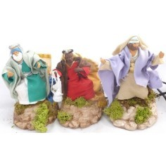Three Wise Men in motion, 12 cm covered in terracotta