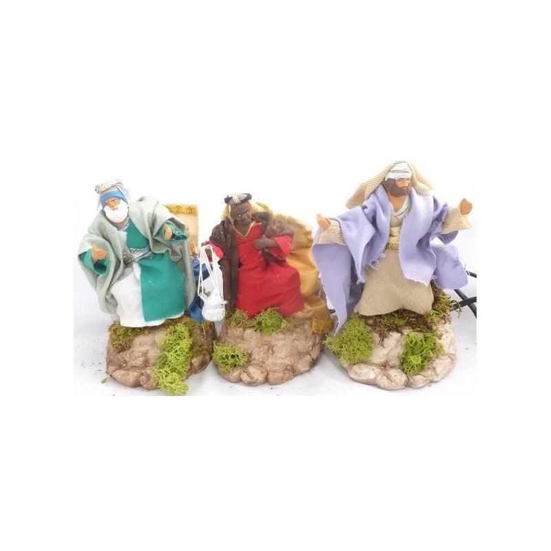 Mondo Presepi Tre Re magi in movimento, cm 12 in terracotta