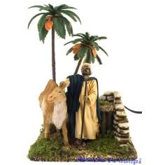Arabo con cammello e palma cm 12 Landi in movimento