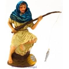 Mondo Presepi Cm 11 Pescatore con pesce