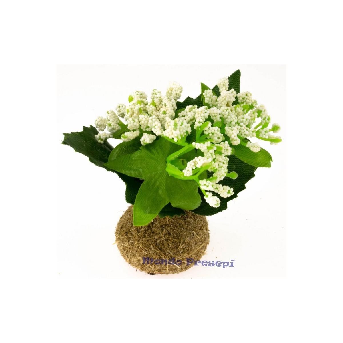 Pianta con fiori bianchi cm 6,5 h. - Mondo Presepi