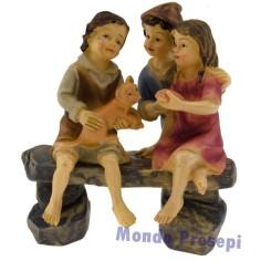 Pastore cm 9 seduto con panchina in legno