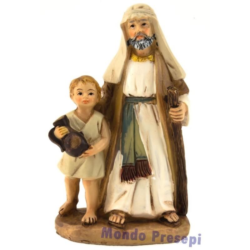 Mondo Presepi Uomo con bambino cm 9 resina