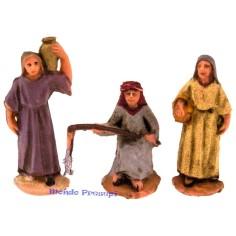 Cm 3,5 donna con cesto, donna con anfora e pescatore