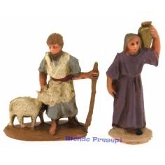 Cm 3,5 donna con anfora e pastore