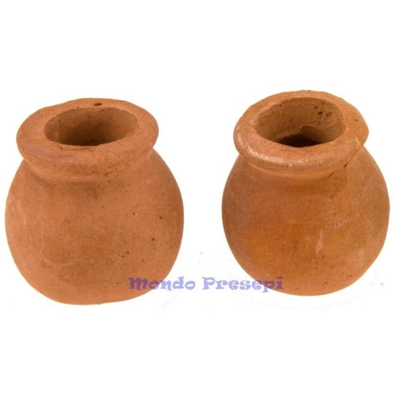 Mondo Presepi Set 2 vasi bombati in terracotta