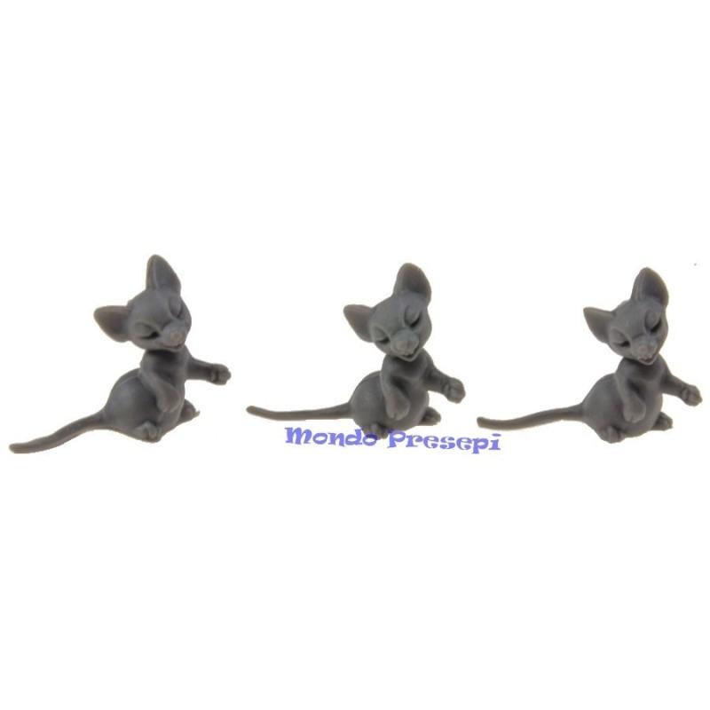 Set 3 topolini in piedi mm 12 Mondo Presepi
