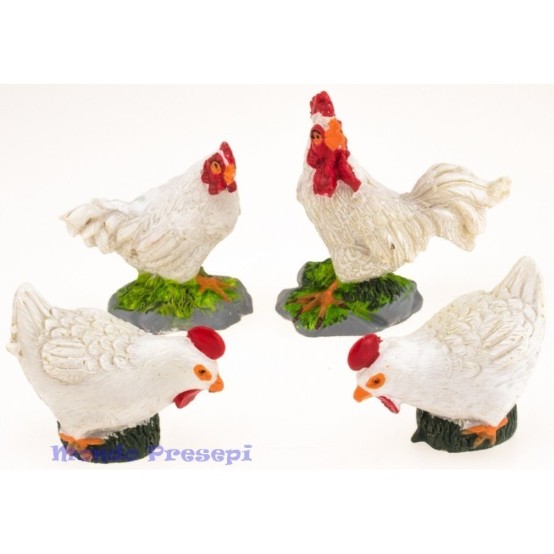 Set 4 hens 4-5 cm in resin