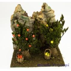 Mondo Presepi Frutteto con piante e rocce