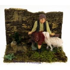 Ambientazione con pastore pecora e cane