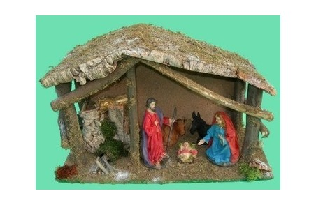 Stable with nativity cm 15 + Fire + Light - Cod. CPNF5021