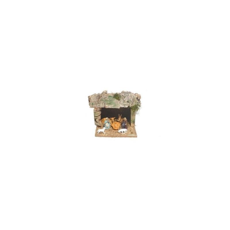 Mondo Presepi Capanna con natività cm 4 - Cod. CPNF303