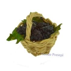 Tinozza in legno ø cm 3 con uva gialla lux