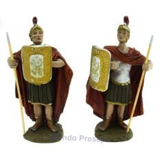 Cm 12 Set due soldati con scudo e lancia