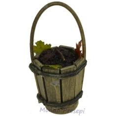 Mondo Presepi Secchio in legno con uva nera lux ø cm 3,2