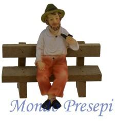 Uomo cm 10 seduto con panchina in legno