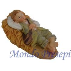 Mondo Presepi Cm 9 Bambino sdraiato che riposa in resina