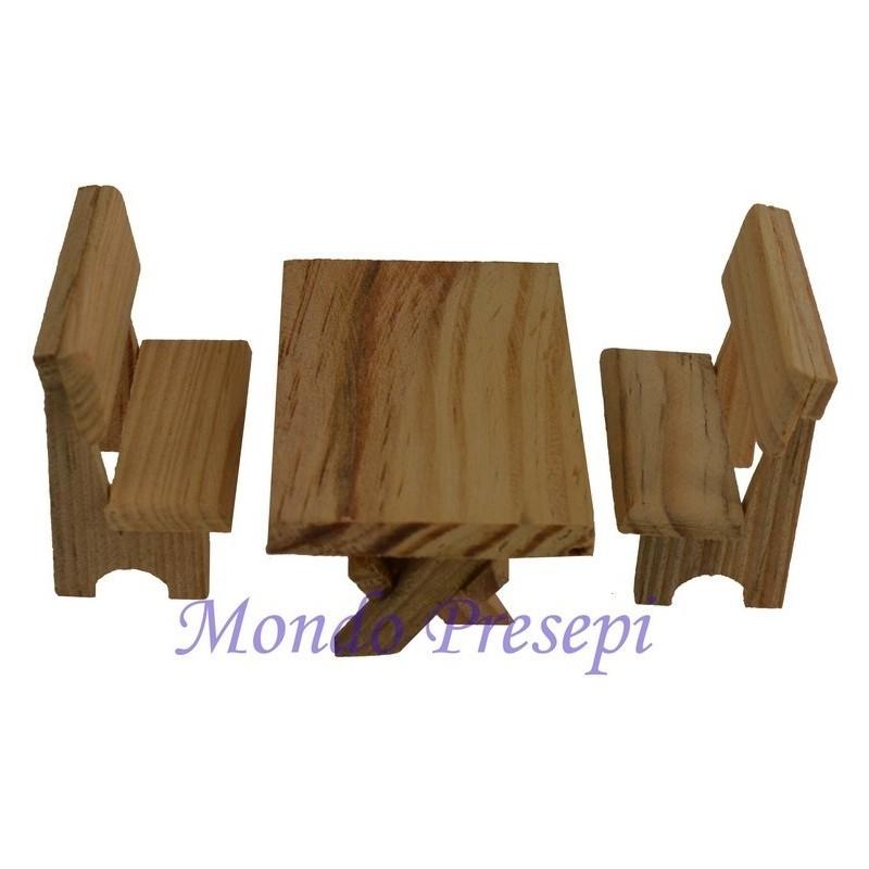 Tavolo in legno con panchine - 8463