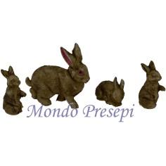 Mondo Presepi Set 4 pz cuccioli di coniglio con mamma