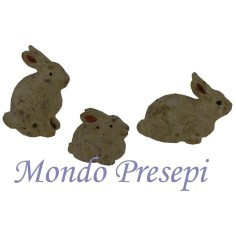 Set 4 pz cuccioli di coniglio con mamma