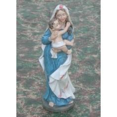 Madonna cm 21 con bambino in braccio - Cod. SCM21