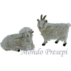 2 pcs set goat with sheep with wool for statues 15-20 cm