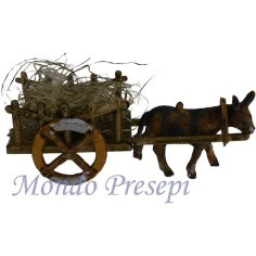 Wagon of straw with a donkey in tow