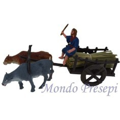 Wagon with carter traianato donkey and ox