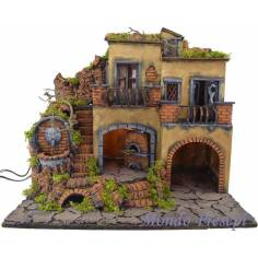 Mondo Presepi Presepe con borgo illuminato con fontana e forno