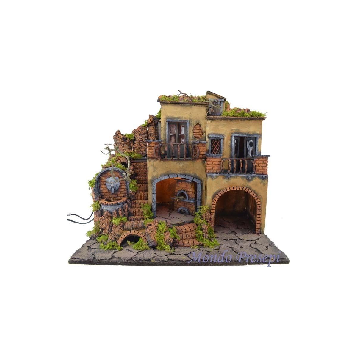 Presepe con borgo illuminato con fontana e forno 50x40 - Mondo Presepi
