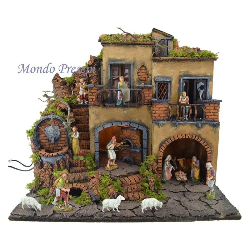 Presepe con borgo illuminato con fontana e forno 50x35