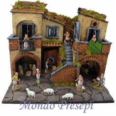 Crib complete with statues Landi lit with the oven 50x40