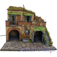 Mondo Presepi Presepe con borgo illuminato con fontana 50x40