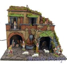 Presepe con borgo illuminato con fontana 50x40
