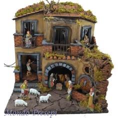Crib conpleto with statues Landi lluminato with a fountain and oven 50x35