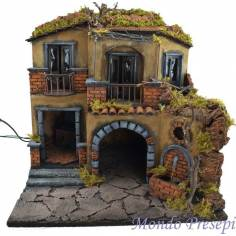 Mondo Presepi Presepe con borgo illuminato con forno e fontana