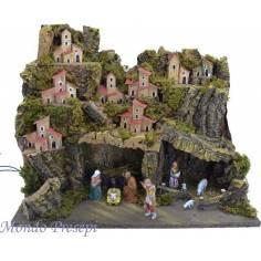 Mondo Presepi Presepe completo di statue Landi con luci cm 45x30